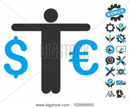Currency Trader icon with bonus tools images. Glyph illustration style is flat iconic bicolor symbols blue and gray colors white background.