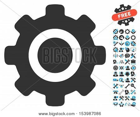 Gear pictograph with bonus tools pictograph collection. Glyph illustration style is flat iconic bicolor symbols, blue and gray colors, white background.