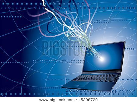 Laptop background. Global communication. Vector