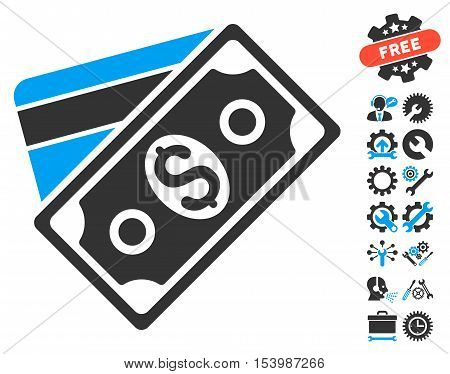 Money pictograph with bonus tools pictograph collection. Glyph illustration style is flat iconic bicolor symbols blue and gray colors white background.