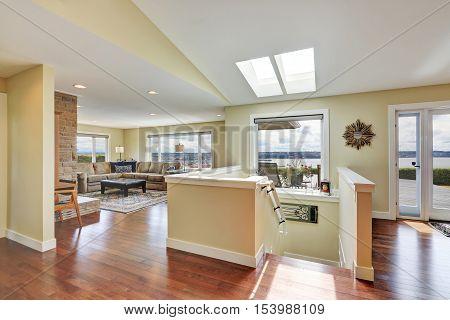 Open Plan House Interior With Hardwood Floor