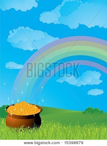 Leprechaun's Pot of Gold. Vector.
