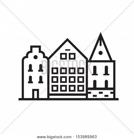 Europe street and house emblem. Danish or sweden townhouse emblem. Historic town houses logo. Downtown street outline design.