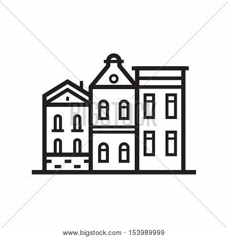 Europe street and house emblem. British or scandinavian townhouse emblem. Historic town houses logo. Downtown street outline design.