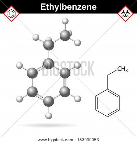Ethylbenzene organic solvent molecular structure 2d and 3d vector illustration isolated on white background eps 10