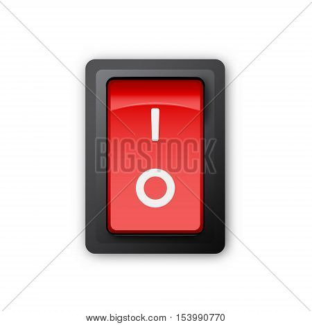 Red pc electric switch off position 3d realistic vector object illustration of electrical equipment on white background eps 10
