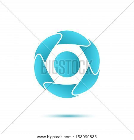Abstract blue segmented circle concept of water cleaning and water cycle 2d vector icon isolated on white background eps 10