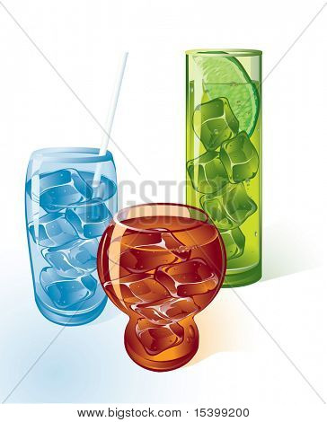 Ice drinks. Vector.