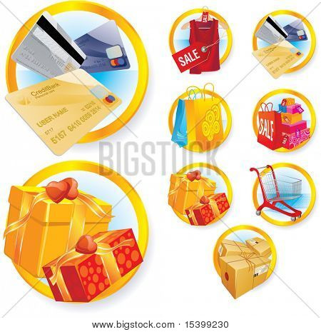 Shopping icons set. Vector.