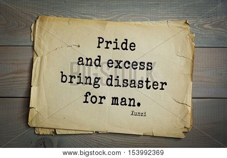 Top 25 quotes by Xun Zi, a Chinese thinker Confucian tradition.  Pride and excess bring disaster for man.