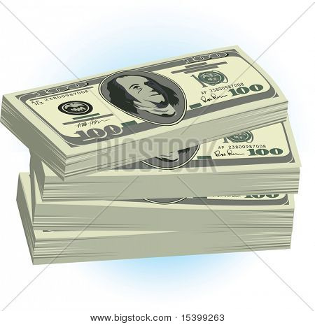Stack of dollars. Vector.