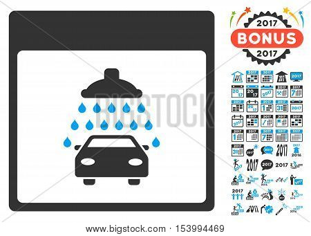 Automobile Shower Calendar Page pictograph with bonus calendar and time management pictograph collection. Glyph illustration style is flat iconic symbols, blue and gray colors, white background.