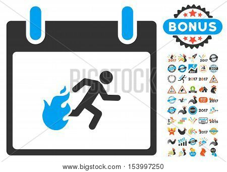 Fire Evacuation Man Calendar Day icon with bonus calendar and time management clip art. Glyph illustration style is flat iconic symbols, blue and gray colors, white background.
