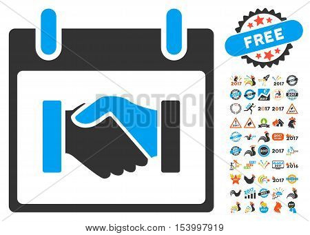 Handshake Calendar Day pictograph with bonus calendar and time management pictograph collection. Glyph illustration style is flat iconic symbols, blue and gray colors, white background.