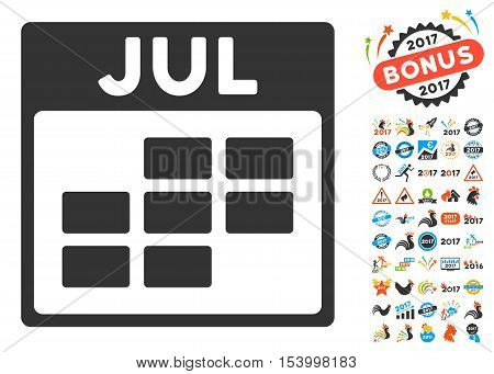 July Calendar Grid pictograph with bonus calendar and time management pictograph collection. Glyph illustration style is flat iconic symbols, blue and gray colors, white background.
