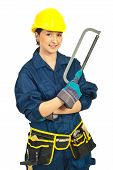 Happy Worker Woman Holding Saw