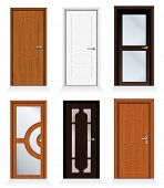 stock photo of front-entry  - Classic interior and front wooden doors  - JPG