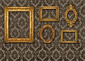 Gold frames, retro wallpaper, please check for more
