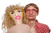 Guy with a blow-up doll