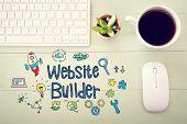 Website Builder Concept With Workstation poster