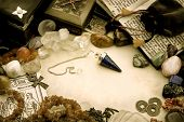 stock photo of wicca  - Composition of esoteric objects - JPG