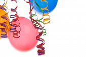 picture of happy birthday  - Border made from colorful balloons and confetti isolated on white background - JPG