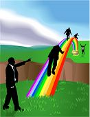 picture of end rainbow  - Conceptual piece. Business people striving to reach a �Pot of Gold at the end of the Rainbow�. No meshes used. On separate layers for easy editing.