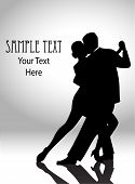 pic of waltzing  - vector illustration of a couple dancing in silhouette - JPG