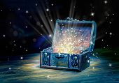 Close Up Concept Greeting Card Of Opened Vintage Chest Treasure With Mystical Miracle Light On Woode poster