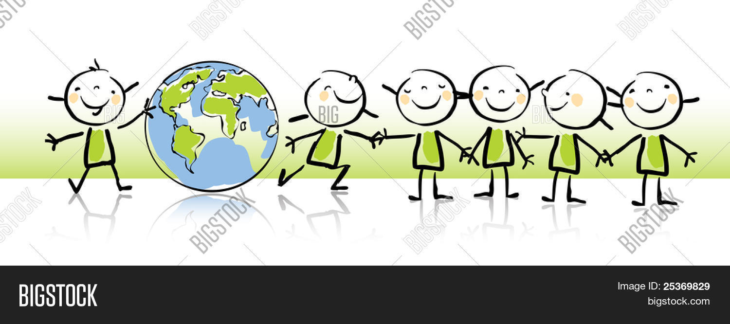 Happy Kids Holding The Globe Vector Illustration Kids Drawing Style