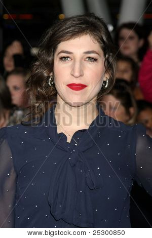 "LOS ANGELES - NOV 14:  Mayim Bialik arrives at the ""Twilight: Breaking Dawn Part 1"" World Premiere at Nokia Theater at LA LIve on November 14, 2011 in Los Angeles, CA"