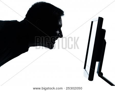 one caucasian business man face silhouette with computer screen display portrait in studio isolated on white background