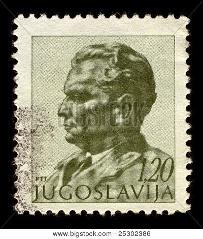 YUGOSLAVIA-CIRCA 1972:A stamp printed in Yugoslavia shows image of Josip Broz Tito was a Yugoslav revolutionary and statesman, circa 1972.
