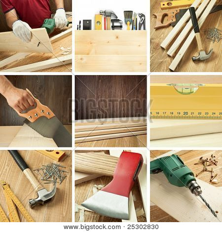 Carpentry tools, woodwork objects collage