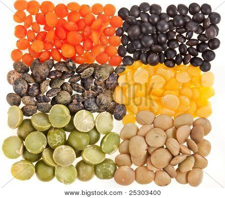 A mixture of different colorful dried lentils