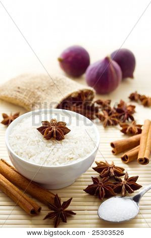 Ingredients for a sweet rice pudding. Rice is uncooked