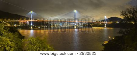 Tsing Ma Bridge Hong Kong China Stormy Evening Skyline Panoramic