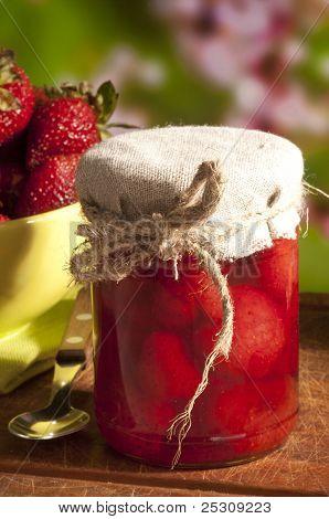 still life of strawberry jam