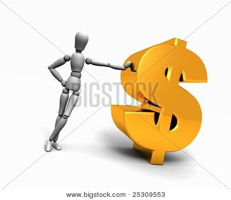 Man Leaning Against Gold $ Dollar Symbol