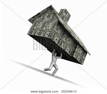 Man Lifting House Made Of Money