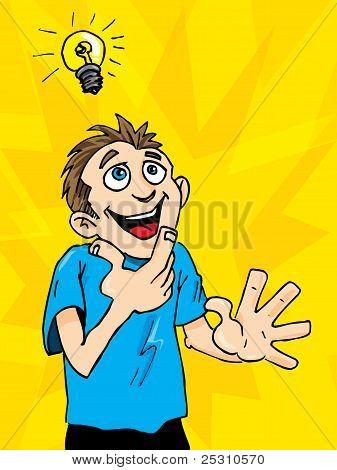 Cartoon Man Gets A Bright Idea. A Light Bulb Above His Headcartoon Man Gets A Bright Idea