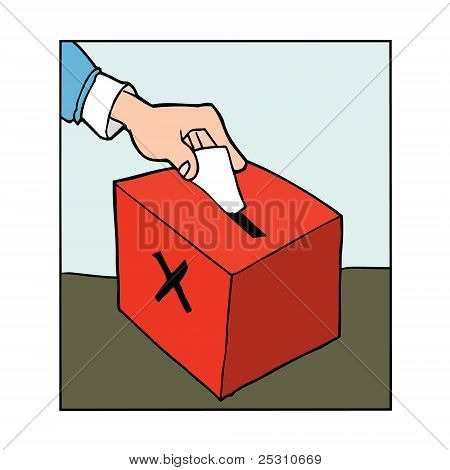 Hand Casting Vote In A Ballot Box