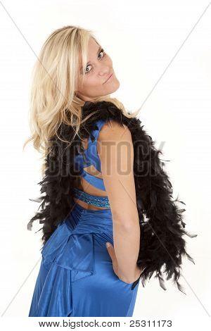 Woman With Boa Blue Dress Back