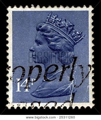 UK-CIRCA 1981:A stamp printed in United Kingdom shows image of Elizabeth II (Elizabeth Alexandra Mary) is the constitutional monarch of United Kingdom in blue, circa 1981.