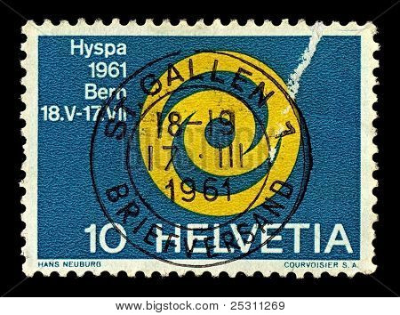 SWITZERLAND-CIRCA 1961:A stamp printed in Switzerland shows image of ausstellung emblem der HYSPA 1961, circa 1961.
