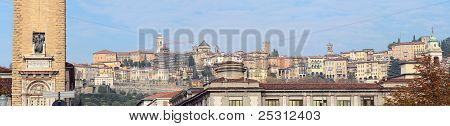 Panorama Of The Hilltop Medieval Town Of Citta Alta, Bergamo, Lombardy, Italy, Europe
