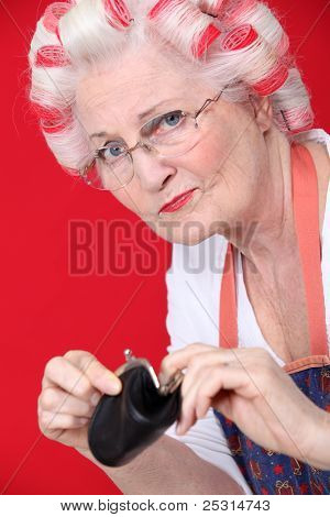 An old lady with an empty wallet.