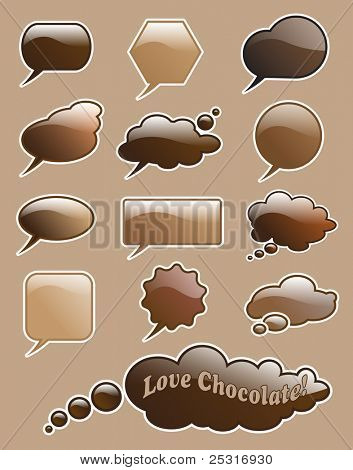 Glossy 'love chocolate' speech and think bubbles with space for your text. EPS10 vector format