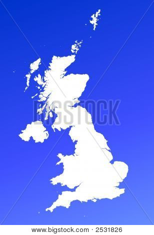 United Kingdom Map On Blue Gradient Background