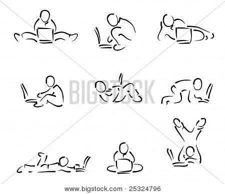 A Man With Laptop In Various ...